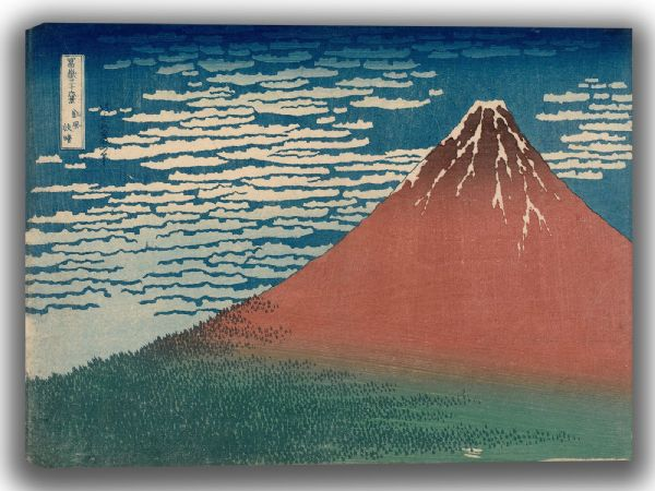 Hokusai, Katsushika: Fine Wind, Clear Weather. Also known as Red Fuji. Fine Art Canvas. Sizes: A4/A3/A2/A1 (003939) (3944)